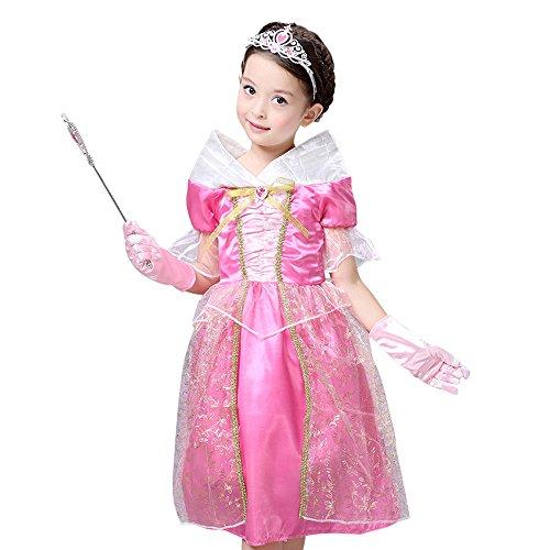Briar Rose Costume Cosplay (SB2 Disney Sleeping Beauty Princess Aurora / Briar Rose Costume for Girls 4-10 (XXL - 8/10))