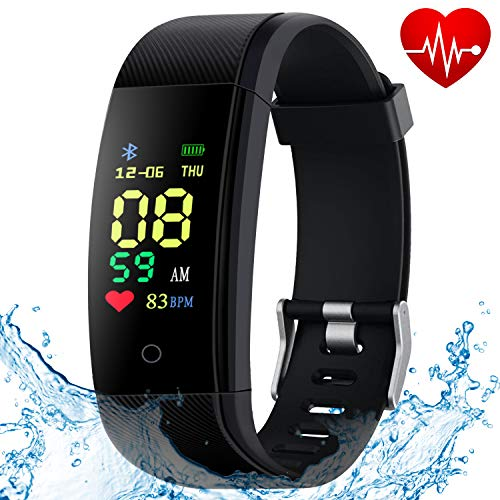 HISILI Fitness Tracker, Activity Tracker with Heart Rate Monitor, Waterproof Smart Watch Band with Step Counter, Calorie Counter, Pedometer, Sleep Monitor for Kids Women and - Calorie Monitor Band