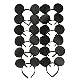 Mickey Mouse Ears Solid Black Headband for Boys and Girls Birthday Party Celebration Event (Pack of 12)