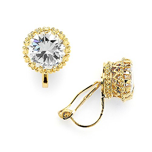 Mariell 14K Gold Plated Crown Setting Clip-On Cubic Zirconia Stud Earrings - Regal 2 Ct. Round Solitaire ()