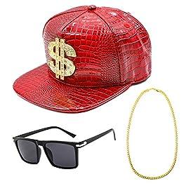 CHUANGLI 80s 90s Hip Hop Costume, Rapper Accessories Set with Dollar Snapback Baseball Cap DJ Sunglasses Gold Plated…