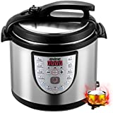 Gtime Electric Pressure Cooker, 8 Qt 18-in-1 Programmable Multi-Cooker, Slow Cooker, Rice Cooker, Sous Vide with Stainless Steel Inner Pot, Includes Glass Lid, Steaming Rack, Scouring Pad
