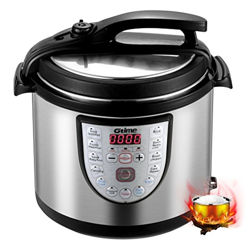 - Gtime Electric Pressure Cooker, 8 Qt 18-in-1 Programmable Multi-Cooker, Slow Cooker, Rice Cooker, Sous Vide with Stainless Steel Inner Pot, Includes Glass Lid, Steaming Rack, Scouring Pad