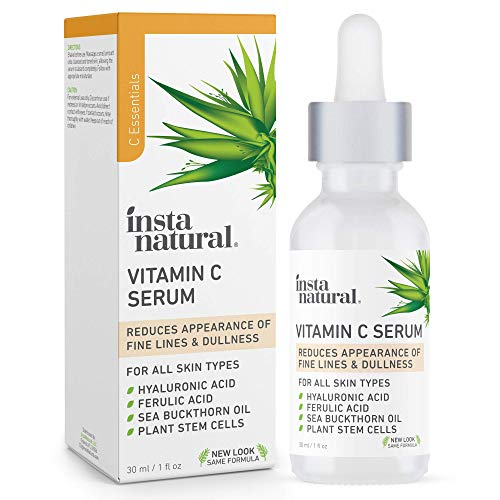 InstaNatural Vitamin C Serum with Hyaluronic Acid & Vit E - Natural & Organic Anti Wrinkle Reducer Formula for Face - Dark Circle, Fine Line & Sun Damage Corrector - Restore & Boost Collagen - 1 oz.