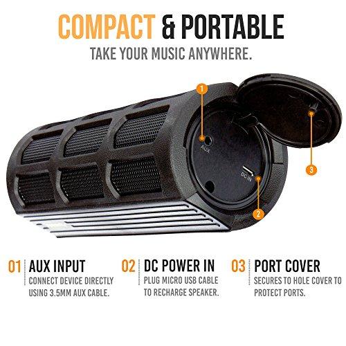 Waterproof Bluetooth Speaker, Alpatronix AX410 Portable Rugged Indoor/Outdoor 12 Watt Stereo Shockproof Wireless Speaker with Mic, Subwoofer & Carabiner for Cyclists, Smartphones & Computers - Black by Alpatronix (Image #2)