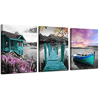 Ardemy Canvas Wall Art Landscape Lake Painting Cabin Teal Purple Sail Boat Pictures Framed Modern Cottage Artwork for Living Room Bedroom Bathroom Kitchen Wall Decor, 12