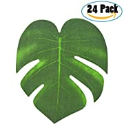 24pcs Tropical Leaves Palm Leaves, Doubletwo 8 Inch Tropical Imitation Plant Leaves Fake Leaves Artificial Jungle Leaves Hawaiian Leaves Party Supplies for Beach Theme Party, Tropical Party