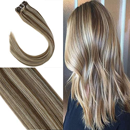 Youngsee 20inch Clip Human Hair Extensions Brown Highlight with Blonde Remy Straight Hair Extensions Clip on Real Hair 7 Pieces 120gram Per Package