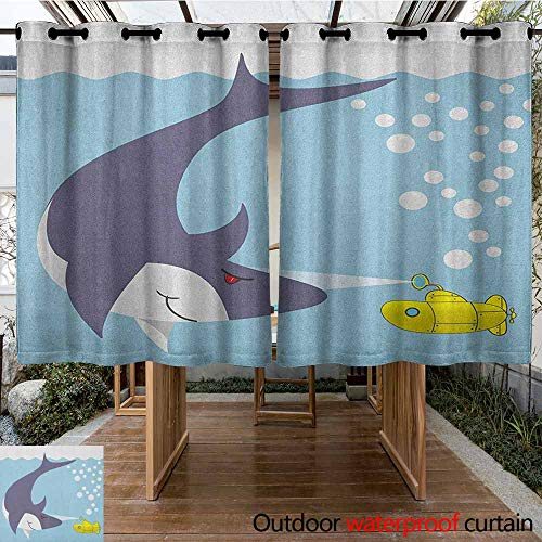 AndyTours Outdoor Curtains,Yellow Submarine,Shark with Vessel in Ocean Bubbles Under Sea Theme Animals Cartoon,for Patio/Front Porch,K160C160 Blue Gray Yellow 95 Ice Grey Vessels