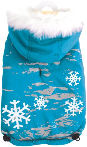 Dogit Style Dog Coat with Fur Trimmed Hoodie, Small, Blue, My Pet Supplies