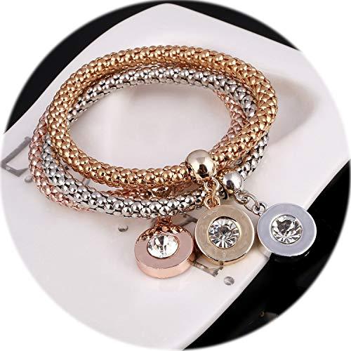 Youthern Jewelry Rose Multi Layered Gold Silverbracelet Bangle for Women Infinite Rhinestone Charms Bracelet -