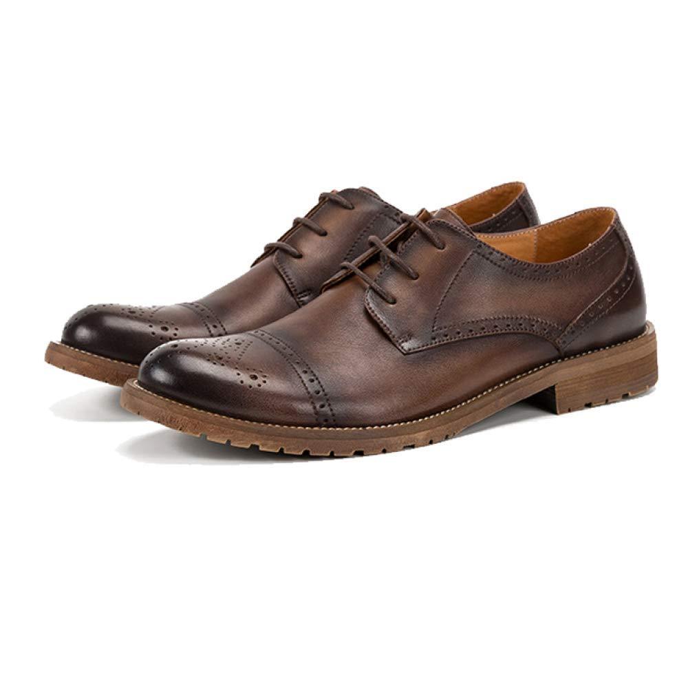 YCGCM Niedrig Herrenschuhe Broch Retro England Niedrig YCGCM Schuhe Tragbar Atmungsaktive Spitze Fashion Coffee d20d82