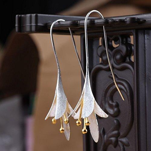 GUAngqi Female Accessories Earrings Long Flower Lily of the Valley Dangle Drop Hook Earrings Handmade Earrings - Lily Drop
