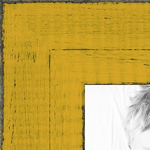ArtToFrames 24x36 inch Distressed Yellow Wood Picture Frame,