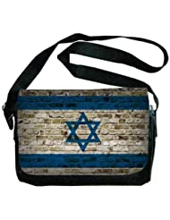 Israel Flag Brick Wall Design Messenger Bag