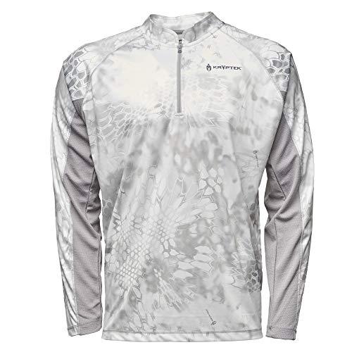 Kryptek Zephyr Long Sleeve 1/2 Zip Camo Hunting & Fishing Shirt (K-Ore Collection), Wraith/Wolf Grey, - Shirt Ls Zip 1/2