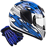 Typhoon Youth Kids Full Face Helmet with Shield & Gloves Combo Motorcycle Street Dirt Bike - Blue (XL)