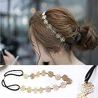 Elegant Hair Accessories Headband Metal Chain Elastic Jewelry Rose Flower Womens