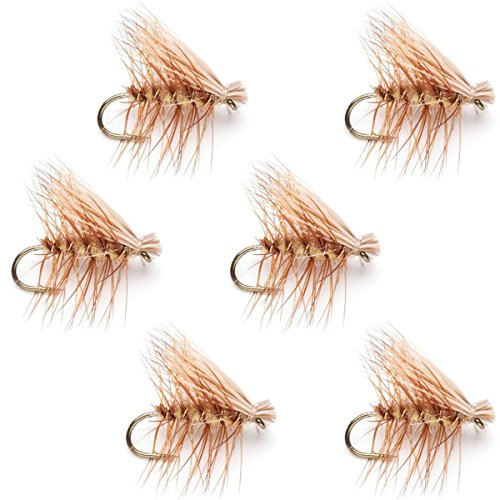 - The Fly Fishing Place Tan Elk Hair Caddis Classic Trout Dry Fly - Set of 6 Flies Size 18