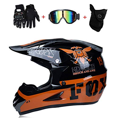 (TOKU Double Sport ATV Motocross Helmet D.O.T Standard Fox Rock Off-Road Star Downhill Hard Hat - Extreme Bike - Unisex, Eagle, M57~58CM)