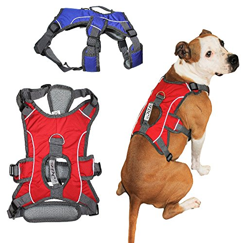 "FDC HEAVY DUTY Durable No-Pull Comfortable Walking Working Dog Harness Vest with HANDLE and REFLECTIVE Stripes PADDED Adjustable for Medium and Large Dogs Sizes: M, L, XL, (M: CHEST 20"" - 26"", Red)"