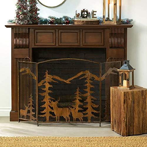 暖炉スクリーン MYL ハンドル付き3パネル素朴な森の暖炉スクリーン、ベビー子供ペット保護のための屋外の金属装飾メッシュ火画面スパークゲートフェンス、81センチメートルトール (Color : Rust color)