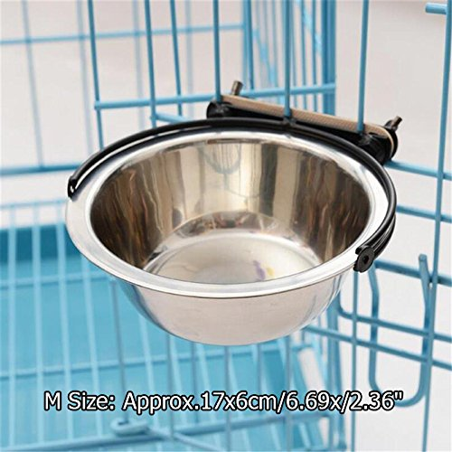 51LdNnN6qhL - Pet Dog Stainless Steel Hanging Food Water Bowl Pet Puppy Food Dish Dispenser Drinker Feeder For Crate Cage Coop Size M