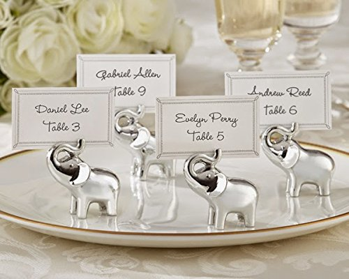 48 Lucky in Love Silver Finish Lucky Elephant Place Card Photo Holders ()