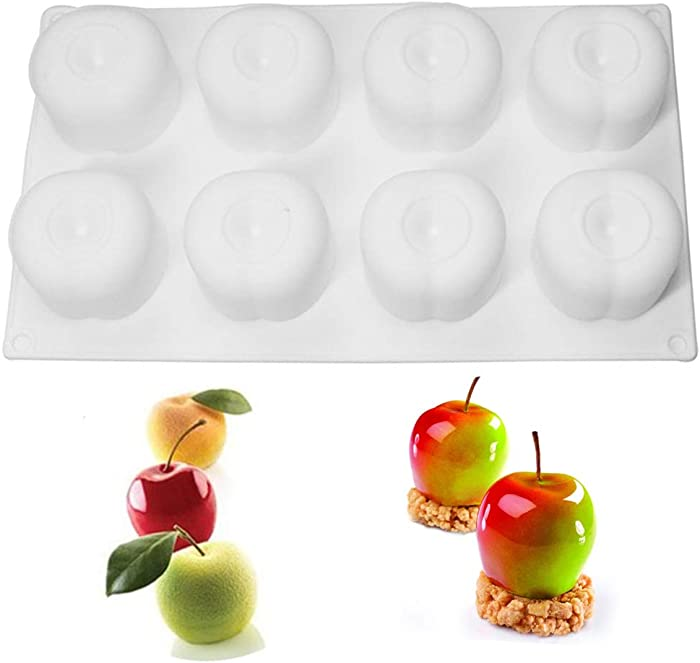 Silicone Mold Baking for 3D Apple Shape Mousse Cake Dessert Mold for Pastry Chocolate Fruit Pudding Jelly, Non-Stick&Easy Release (8 Cavity)