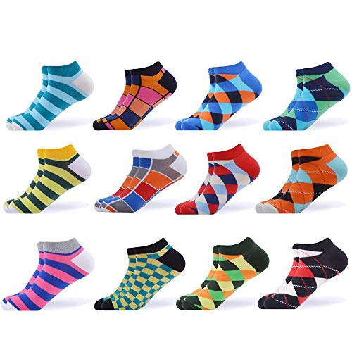 WeciBor Men's Dress Cool Colorful Fancy Novelty Funny Casual Combed Cotton Ankle Socks Pack (B052-25)