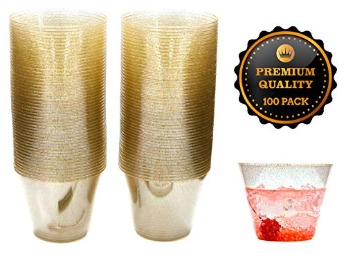 Pure Journi Fancy Plastic Party Cups, 9 Oz. | 100 Gold Glitter Cups for Wedding Reception, Christmas, Parties | For Wine, Champagne, Appetizer Tumbler, etc. | Includes 2 Marker Pens -