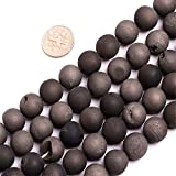 "12mm Black Druzy Drusy Metallic Coated Agate Gemstone Loose Beads In Bulk For Jewelry Making Wholesale Beads One Strand 15 1/2"" (12mm/black)"