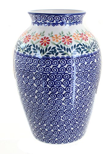 Blue Rose Polish Pottery Garden Bouquet Large (Painted Pottery Vase)
