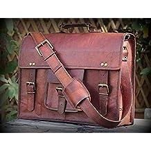 """HLC en cuir Vintage-Sac pour ordinateur portable 15 """"- Mallette Messenger Sac à bandoulière fabriqué à la main"""