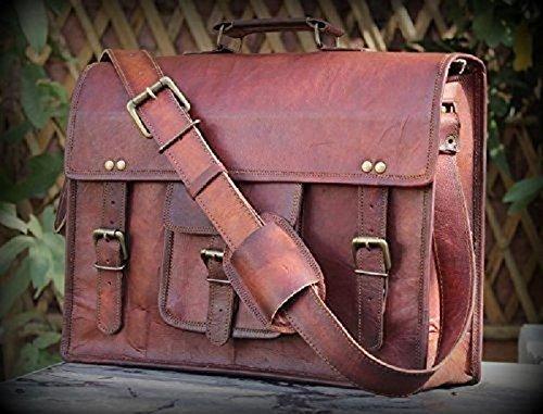 HLC Vintage Leather Laptop Bag 15