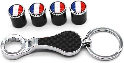 logotipo de bandera francesa Vástago De La Válvula Tapas de neumáticos cubiertas de fibra de carbono