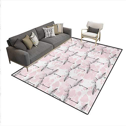 Rug,Flamingos Shaping Hearts Heads Love Animal Valentines Artsy Illustration,Floor Mat Kids,Pale Pink Grey,5'x6'