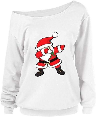 SHOBDW Moda para Mujer Invierno Colorido Novedad Feliz árbol de Navidad Papá Noel Estampado Fuera de Hombro Cuello Redondo Sudadera de Manga Larga Sudadera Blusa Suelta(Blanco-6, XL): Amazon.es: Ropa y accesorios