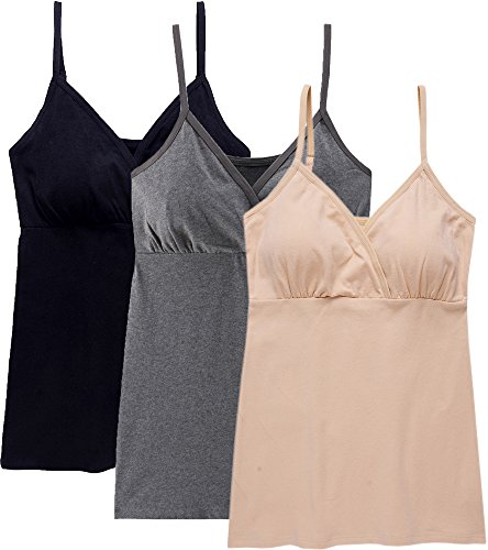 Nursing Tank Tops, Maternity Nursing Bras Camisole Pajamas For Breastfeeding (Large: Fits for Weight 150-170 lb, Black+Dark Grey+Nude (3Pcs))