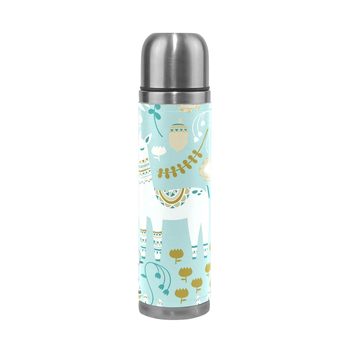 Vacuum Cup Insulated Stainless Steel, Fun Woodland Pattern with Deer Travel Mug for Kids Family Friends