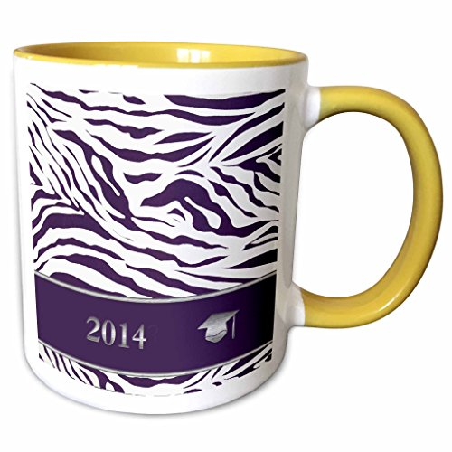 3dRose Beverly Turner Graduation Design - 2014 Zebra Print with Graduation Cap, Purple - 15oz Two-Tone Yellow Mug (mug_180904_13)