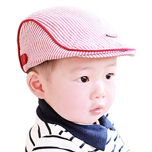 Inkach Baby Beret Hats, Cute Toddler Stripe Printed Baseball Caps (Pink)