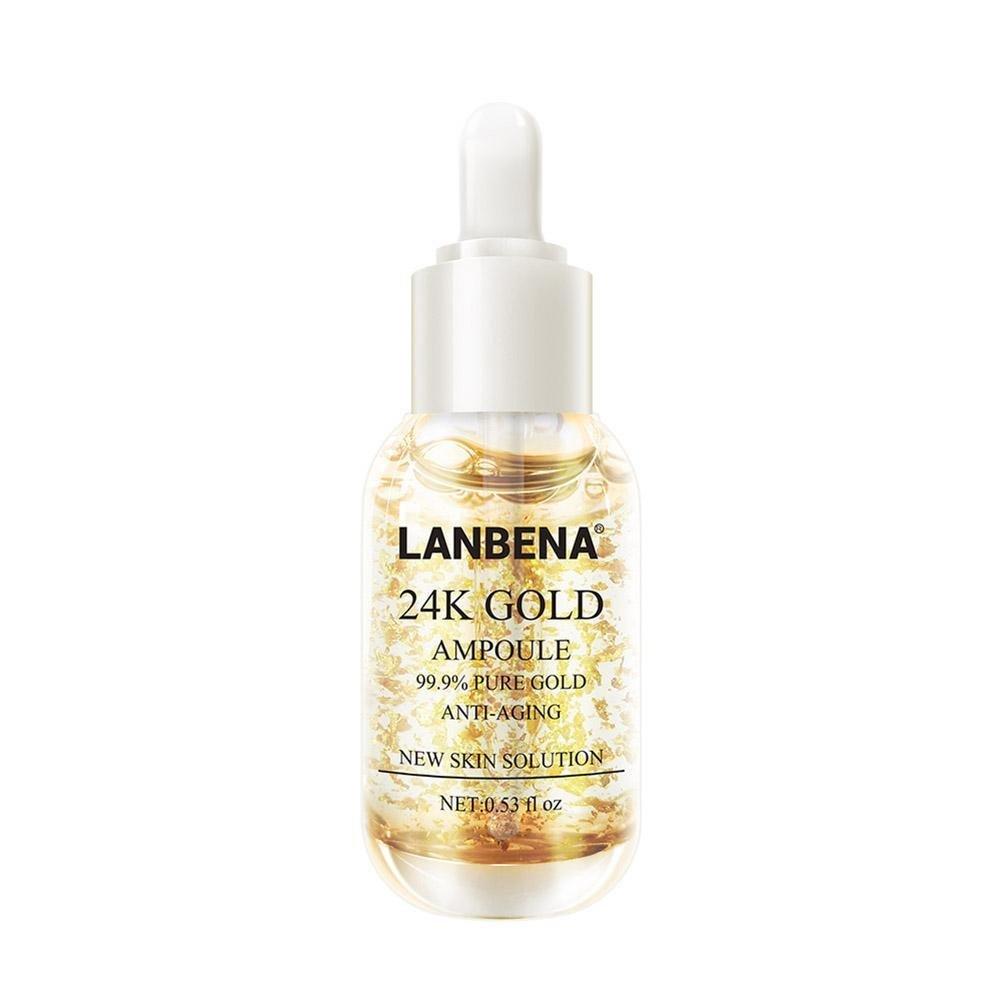 LANBENA Esencia de oro de 24 quilates, Esencia de colágeno, ácido hialurónico hidratante facial, reafirmante antienvejecimiento líneas finas para reparar la piel haodene