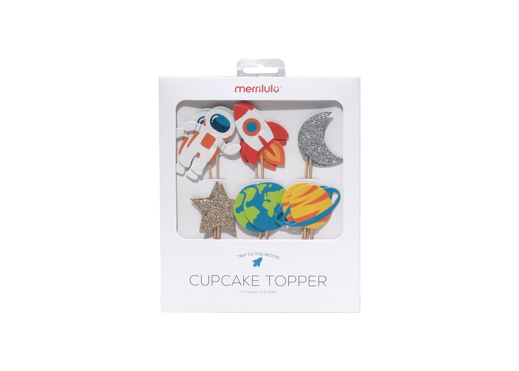 Trip to The Moon- Cupcake, Cake Toppers | 12 Pack | Outer Space Decorations | Birthday | Baby Shower | Rocket, Planet, Astronaut Theme | Outer Space Party Supply | Food Pick by Merrilulu (Image #2)