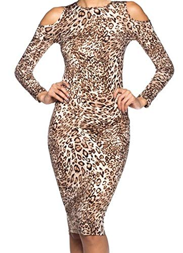 (Simply Savvy Co Slim Leopard Cheetah Animal Print Midi Dress Gown for Women (Large))
