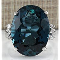 Saengthong Fashion 925 Sterling Silver Huge Blue Topaz Ring Wedding Women Jewelry Size 6-10 (6)