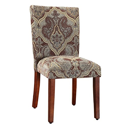- HomePop Parsons Upholstered Accent Dining Chair, Set of 2, Blue and Brown Paisley