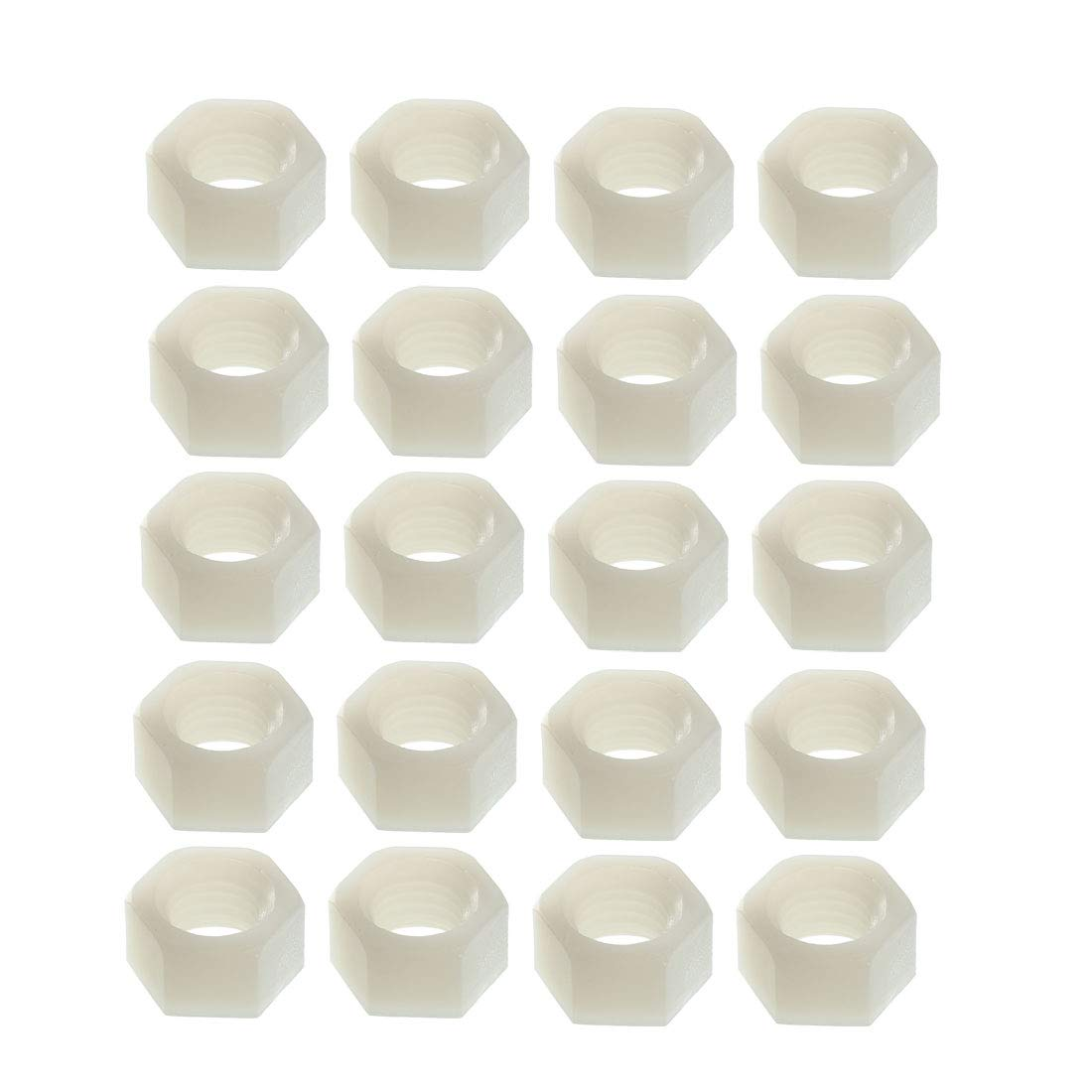 uxcell Nylon Hex Nut White M2x0.4mm Metric Coarse Thread Hexagon Nuts 10 Pcs