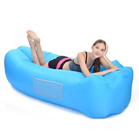 Nice Woochy Inflatable Lounger Air Sofa Hangout Couch Lounger Bag Air Chair  Waterproof Nylon (Carrying Bag