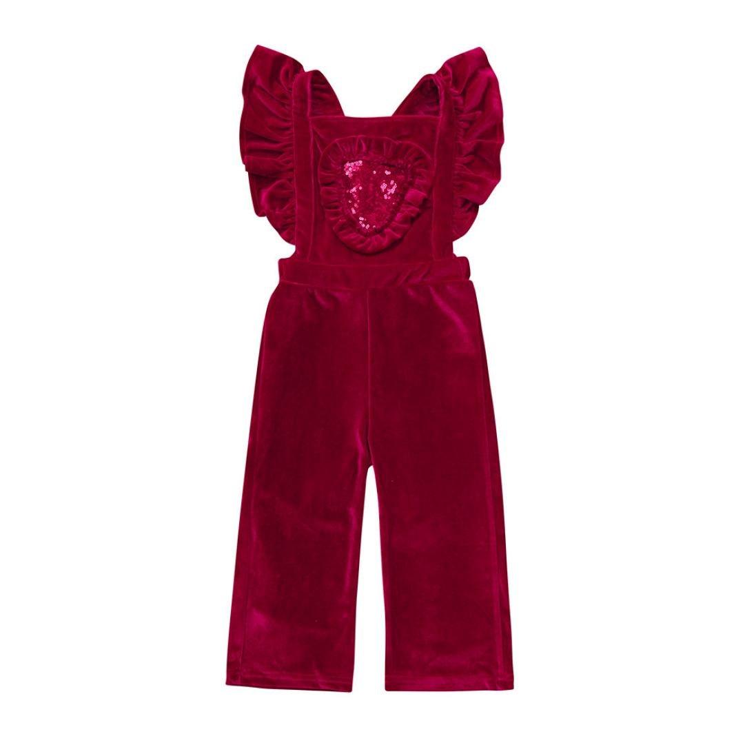 Jarsh Toddler Baby Girls Suspenders Velvet Sequins Romper Jumpsuit